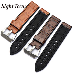 Ремешок для часов из кожи и силиконовой резины для Pam Tudor Hamilton Suunto, толстый ремешок для часов, мужские часы-браслет, 20, 22, 24, 26 мм