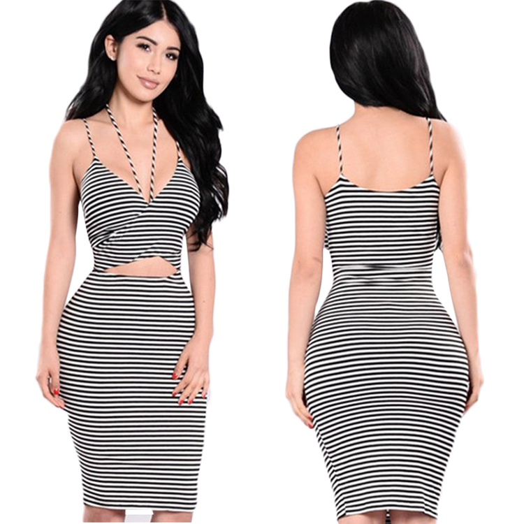 Brand New Fashion Summer Sexy Striped Halter Sling 1 Piece Deep V <font><b>Open</b></font> <font><b>Back</b></font> <font><b>Dress</b></font> Polyester Pencil <font><b>Dress</b></font> For Charaming Ladies image