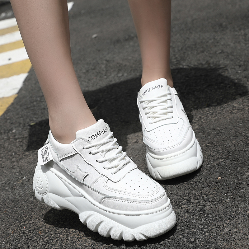Beige Black Black Platform Sneakers Women Thick Soled Sneakers 2019 Fashion Non-slip Autumn Women Casual Vulcanized Shoes