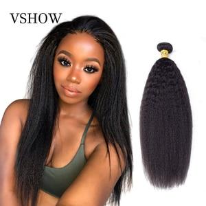 Yaki Straight Hair Bundles VSHOW Indian Human Hair Weave Bundles 1/3/4 Bundles Kinky Straight 100% Remy Hair Extension(China)