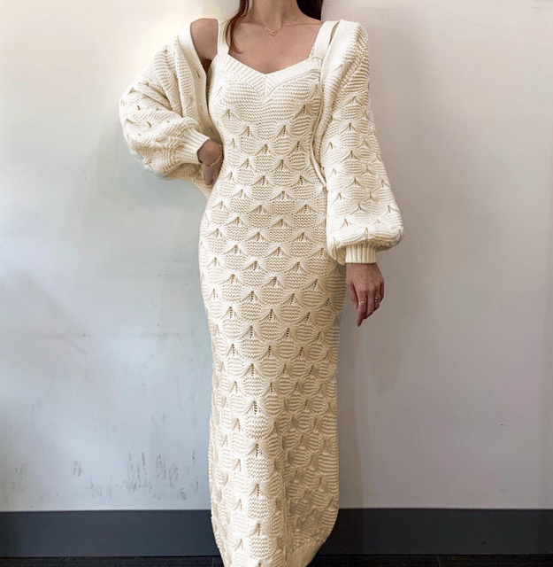 Chic Knitted Single-breasted Lantern Sleeve Cardigan Sweater with V Neck Sleeveless Sweater Dress 2 Piece Set 5