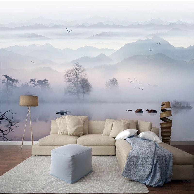 Custom Wallpaper 3D Chinese Style Ink Landscape Photo Wall Murals Living Room Bedroom Study Home Decor Papel De Parede 3 D Sala