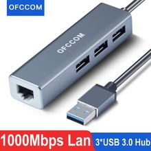 OFCCOM USB Ethernet USB 3 0 2 0 to RJ45 Hub 10 100 1000M Ethernet Adapter Network Card USB Lan For Macbook Windows cheap CN(Origin) 28cm None 10 100 1000Mbps USB to Ethernet Laptop Gigabit Ethernet White Silver Gray USB rj45 USB ethernet adapter