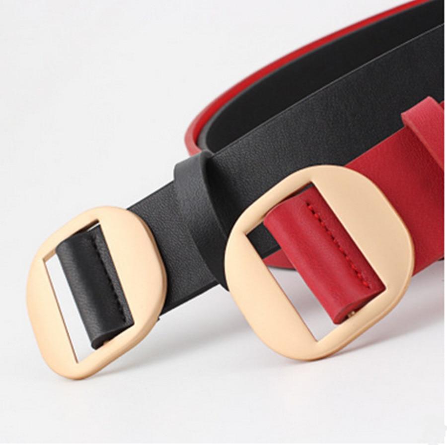 Fashion Female Round Buckle Non-porous Belt Female Decorative Down Jacket Pu Leather Belt