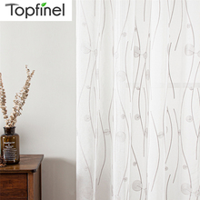 Topfinel Natural Embroidered Sheer Curtains for Living Room Bedroom Elegant Tulle Curtains Embroidery White Voile Curtains Panel