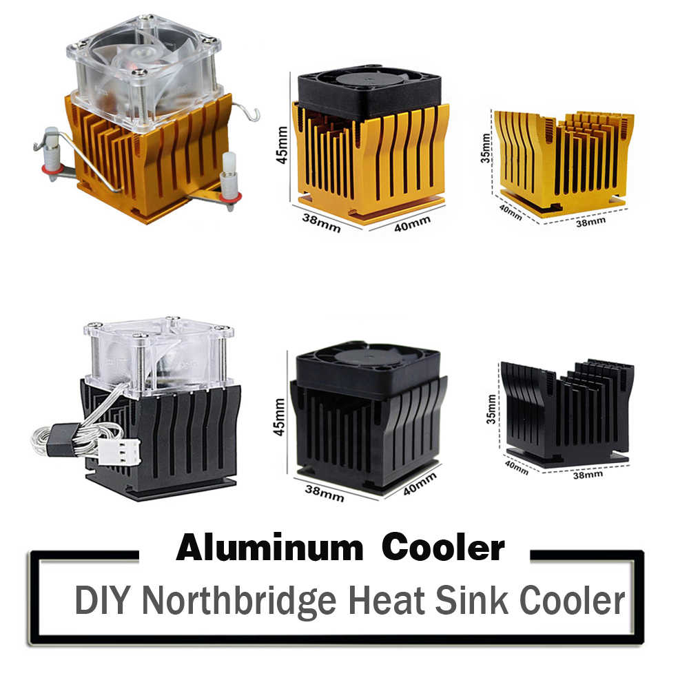 DIY Aluminium Northbridge Heatsink Cooler Papan Utama Radiator W/4 Cm Fan untuk Komputer PC Kasus Selatan North Bridge Chipset pendingin