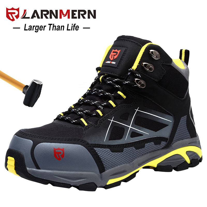 LARNMERN Mens Steel Toe Work Safety Shoes Lightweight Breathable Anti-smashing Anti-puncture Anti-static Protective Boots