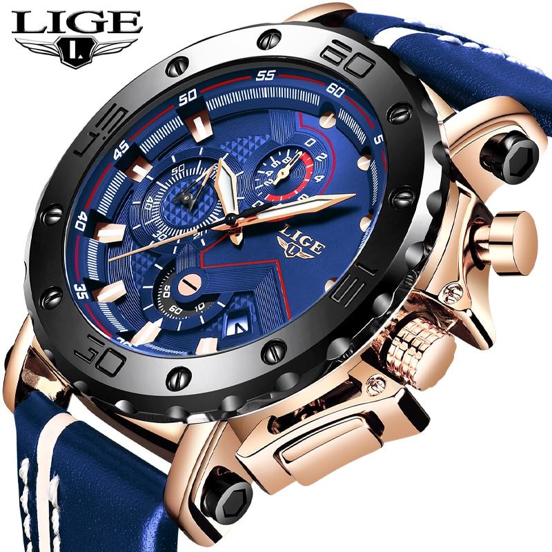 2019New LIGE Fashion Mens Watches Top Brand Luxury Big Dial Military Quartz Watch Leather Waterproof Sport Chronograph Watch Men