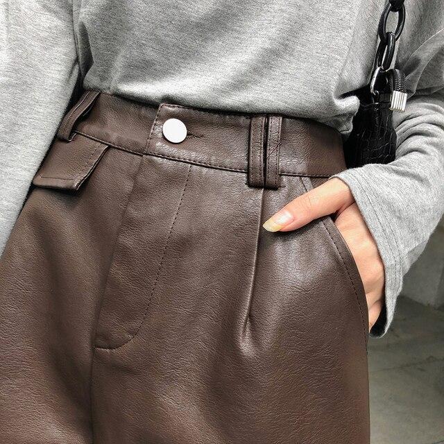 QOERLIN PU Bermuda Shorts for Women Faux Leather Shorts Stylish High Waist Shorts Streetwear Plus Size Pockets Trouser Female 6