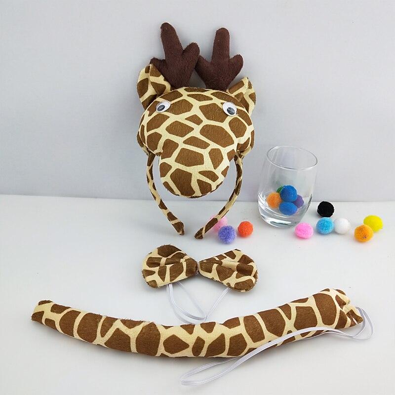 Детская повязка на голову с ушками животных для мальчиков и девочек; комплект с галстуком-бабочкой и хвостом для детей и взрослых; карнавальный костюм; вечерние аксессуары для волос - Цвет: 66