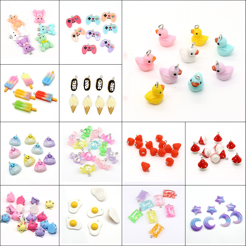 Resin Charms Earring Unicorn Mushroom Food-Pendants Jewelry-Make Duck-Animal Mixed Cats