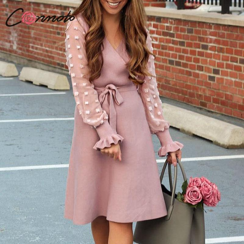 Conmoto Women Winter Knitted Short Dress 2019 Female Elegant Pink High Waist Sash Party Dress Fashion V Neck High Street Vestido