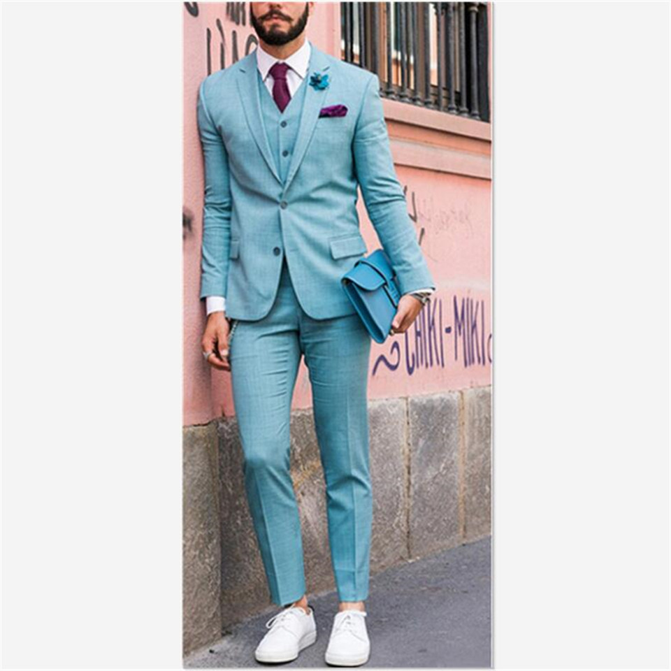 New Style Men Suit Traje Hombre Prom Tuxedo Tailcoat Dinner Party Costume Homme Mens Suits 3 Piece (Jacket+Pants+Vest)