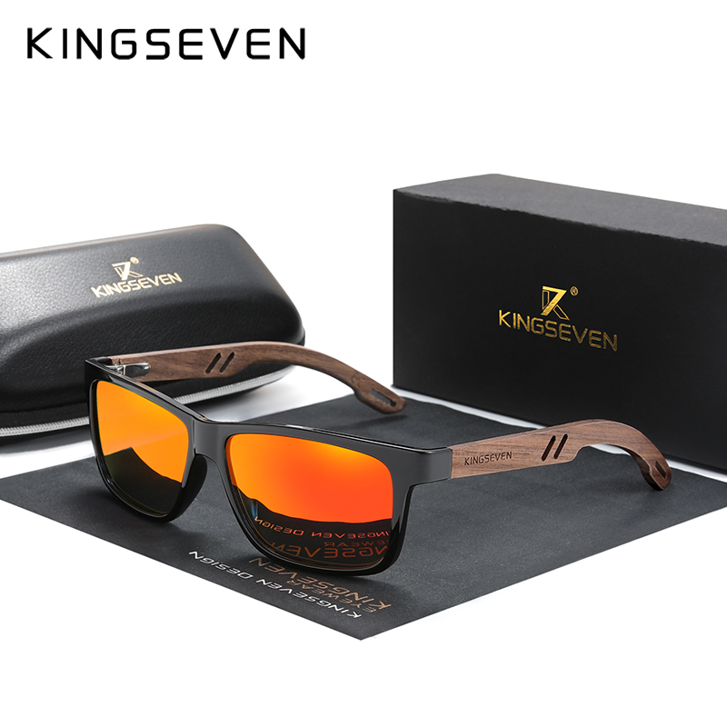 KINGSEVEN Brand Design TR90+Walnut Wood Handmade Sunglasses Men Polarized Eyewear Accessories Sun Glasses Reinforced Hinge 1