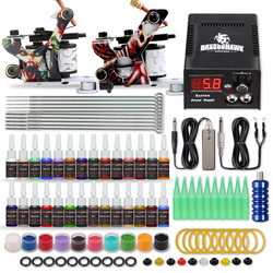 Complete Beginner Tattoo Kit Supplies Equipment Set 2 Coils Machine Guns 20 Color ink Needle Power Supply Tip Grip