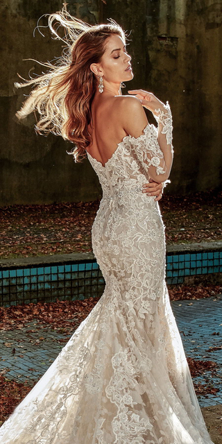 Boat Neck Vestido De Noiva Luxury lace Embroidery Mermaid Bride Wedding Dress 2021 new Bridal Gown Sexy backless Robe de mariee 5