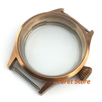Corgeut 43mm Sapphire glass PVD NEW coffee color sterile steel case fit eta 6497 6498 ST36 movement mens watch p59