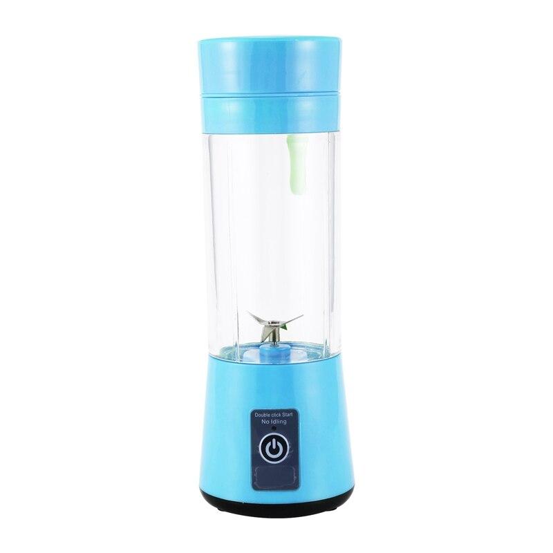 AD-USB Rechargeable, Small Blender Single Serve, Personal Size Blender Handheld Sized Travel Blender Juicer Cup 380Ml Blue