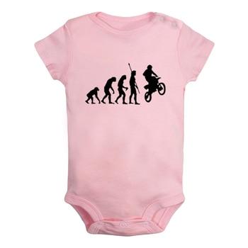 Ewolucja człowieka Biker motocykl rower czarny wydrukowano noworodka dziewczynka chłopcy odzież pajacyk dziecięcy z krótkim rękawem stroje 100% bawełna