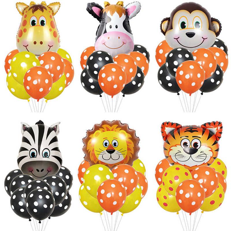 Decoracion De Baby Shower De Animales.1 Juego De Globos Animales Tigre Leon Mono Vaca Cebra Baby