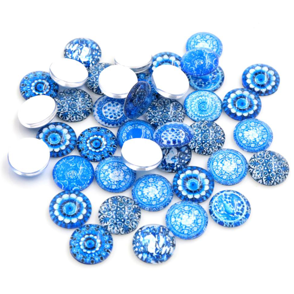 50pcs/Lot 12mm Photo Glass Cabochons Mixed Color Cabochons For Bracelet Earrings Necklace Bases Settings-E4-62