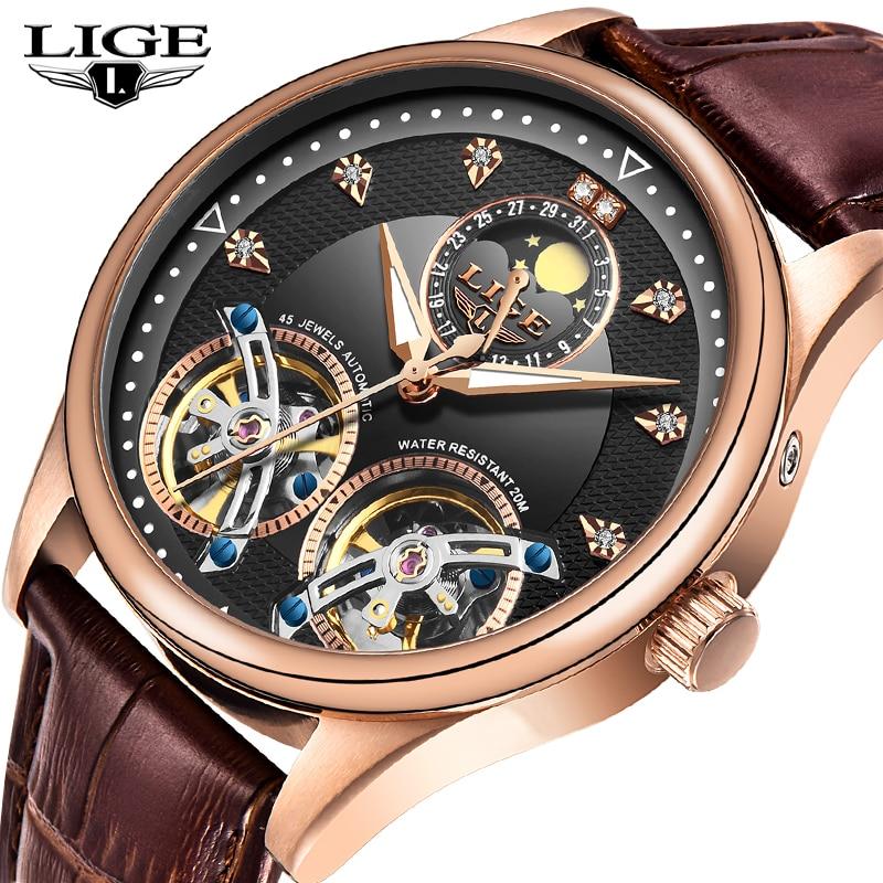 2020 New LIGE Men Watches Luxury Leather Double Tourbillon Mechanical Watch Men Fashion Business Automatic Waterproof Watch10013