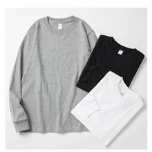 Mens Pure Cotton Retro Cuff Threaded Long Sleeve T-shirt Bottom Shirt TEE for Men and Women