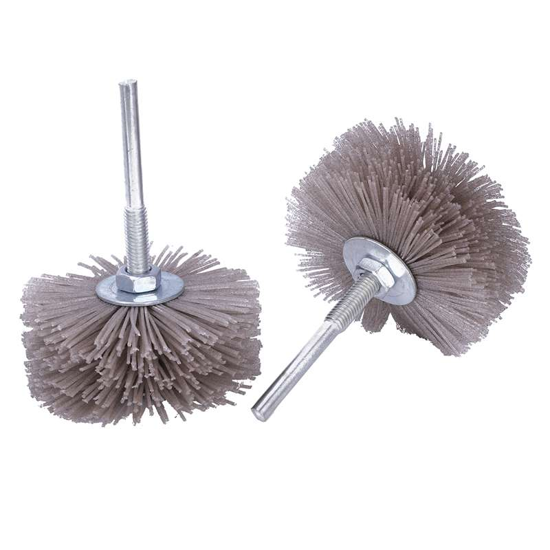 4 Pieces(P120 P180 P240 P320) 85 X 35 X 6mm Drill Abrasive Wire Grinding Wheel Nylon Bristle Polishing Brush For Wood Furniture