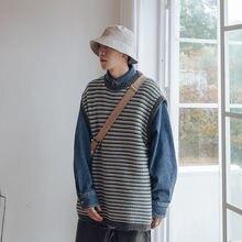 Sweater Vest Knitted Pullover Korean Men's Retro Fashion Winter Casual Striped O-Neck
