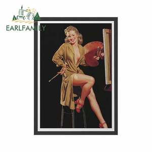 EARLFAMILY 13cm x 9.3cm for VINTAGE PIN UP Girl Poster - Sexy Legs Burlesque Retro Print Car Decal Occlusion Scratch Sticker