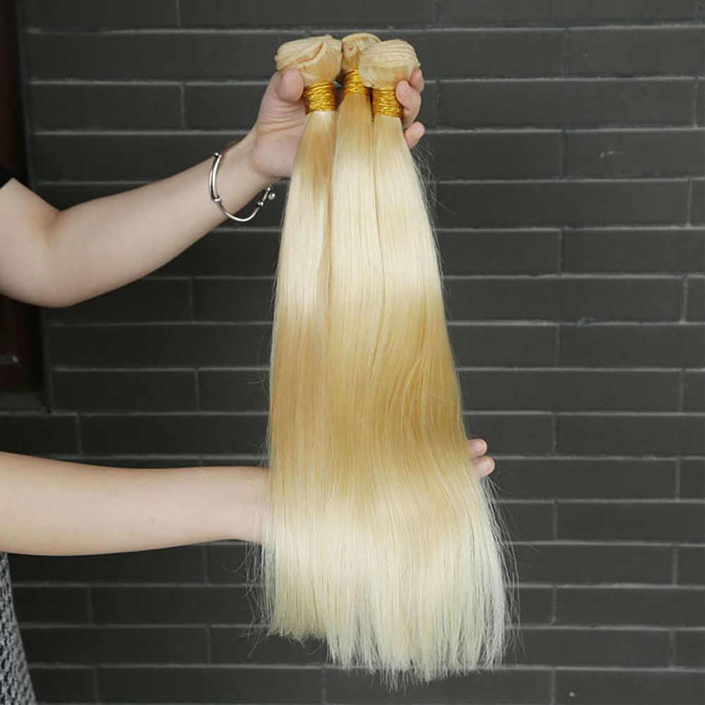 32 34 36 38 40 pulgadas, mechones de cabello humano postizo 613 Rubio liso, 1 / 3 / 4 Uds., extensiones de cabello humano Rubio Remy