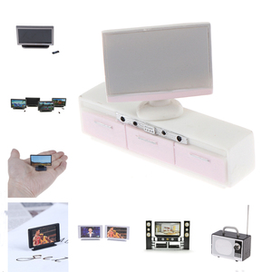 New Style Dollhouse Miniature Widescreen Flat Panel LCD Remote HI-FI TV Cabinet TV Cabinet Doll House Living Room Furniture