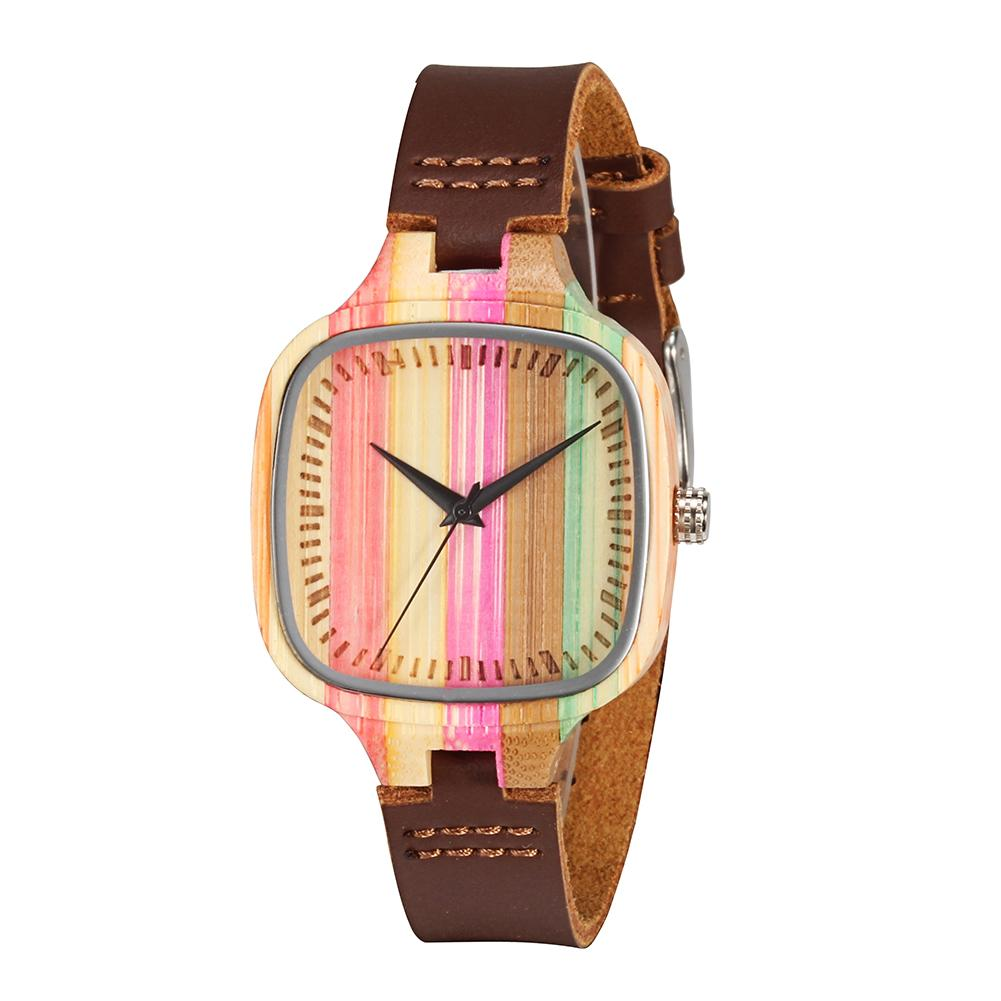 Rainbow Wood Watches Luxury Brand Women Mens Top Wooden Watch Strap Wristwatch Simple Casual Leather Clocks Reloj Hombre New