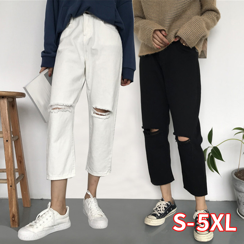2020 Summer New Hole Jeans Women's Large Size Women's Straight Pants Loose Cropped Pants Wholesale