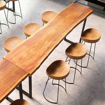 Modern Minimalist Bar Stool Solid Wood European Home Bar Creative Coffee Casual Dining Stool Nordic Wrought Iron High Chair