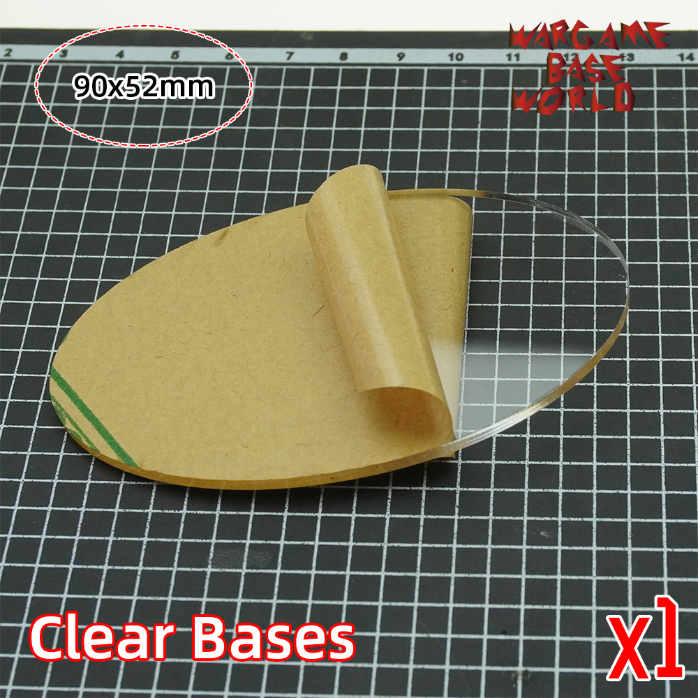 TRANSPARENT / CLEAR BASES For Miniatures - Wargame Oval Bases 90x52mm Oval Bases