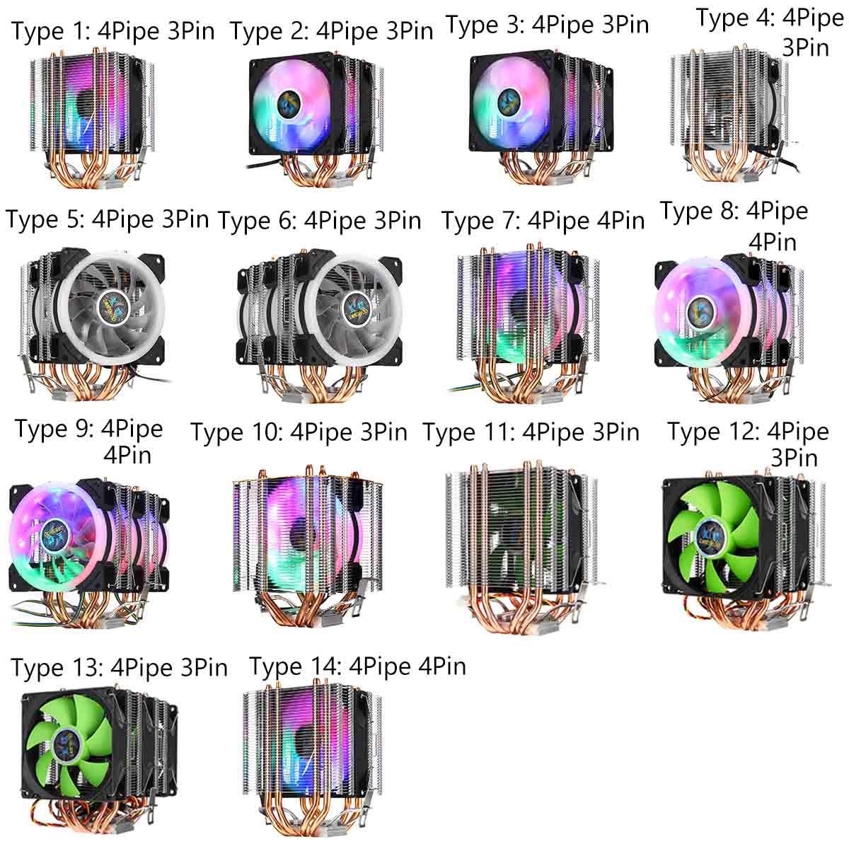 3pin/4pin Dual Tower CPU Cooler Fan 4 Heatpipe Cooler Cooling Fan Quiet Fan For Intel 775/1150/1151/1155/1156/1366 For AMD