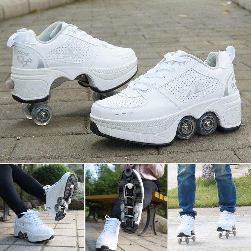 Четырехколесные сверхпрочные походные туфли для взрослых и детей роликовые коньки многофункциональные деформированные роликовые коньки ...