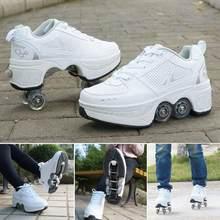 Quatro rodas pesados caminhadas sapatos para adultos e crianças patins de rolo multifuncional deformado patins preguiçosos sapatos