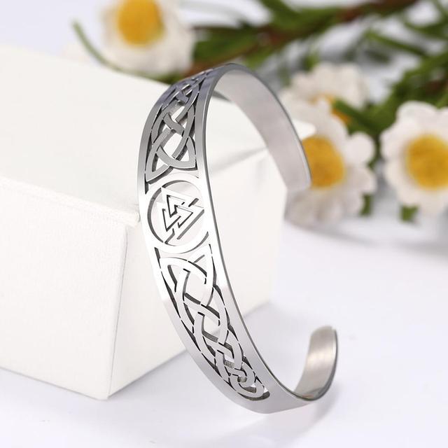 Bracelets manchette Viking Lemegeton noeud irlandais Bracelet noeud celtique hommes femmes amulette bijoux Talisman Bracelet acier inoxydable (Copie) 5