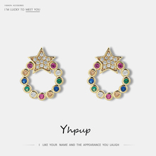 Yhpup New Trendy Super Bling Cubic Zirconia Geometric Stud Earrings Tiny Colorful 14 K Metal Jewelry for Women Office Party S925