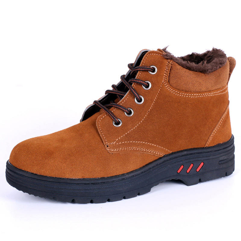 2019 Men's Winter Warm Style Mal Labor Protection Shoes High-top Plus Velvet Cold Work Safety Protective Shoes #JA9P26