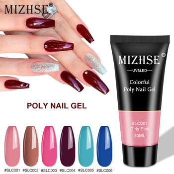 MIZHSE 12 Colors 30ml/15ml Poly Nail Gel Red Blue Yellow Extension Gel Nail Gel Matte Top Soak Off UV Hard Fast Builder Gel francheska camouflage gel builder gel quickly uv builder gel soak off nail extension jelly poly 10 colors clear pink white pink