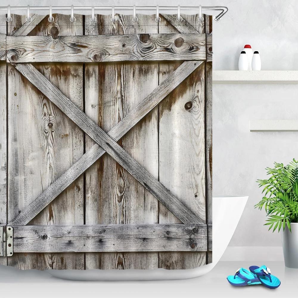 rustic wood board shower curtain retro wooden barn door fabric shower curtains bathroom rural farmhouse art bathtub accessories