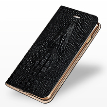 LANGSIDI Flip cover Crocodile skull Genuine Leather phone case for iphone X XS XSmax XR 6 7 8 8plus Card protector Magnetic