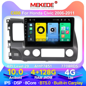 MEKEDE Android 10.0 for Honda Civic 2006-2011 Multimedia System GPS Navigation support RDS Carplay DVR Headunit Stereo Radio