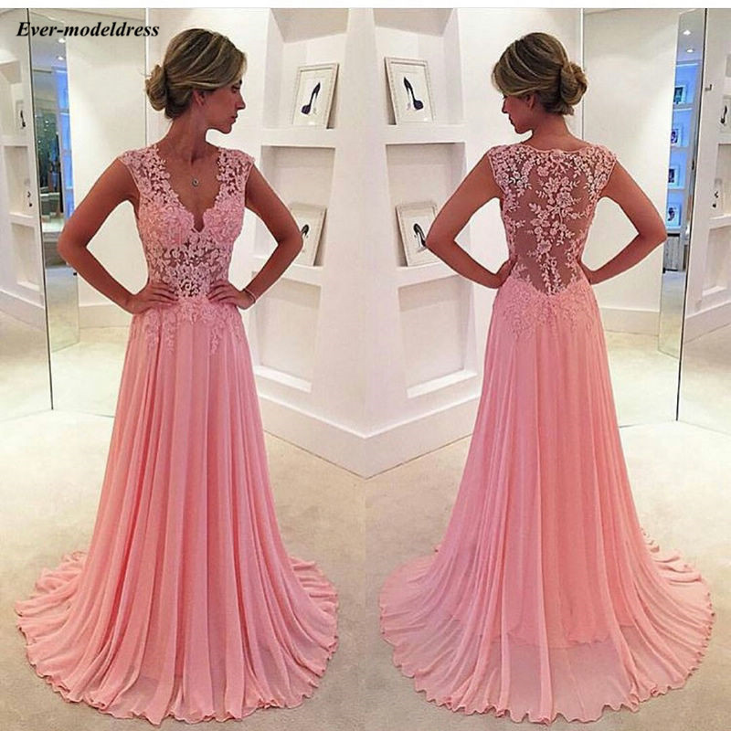 Blush Pink Chiffon Long Bridesmaid Dresses 2020 V-Neck Appliques Illusion Back Country Wedding Guest Dresses Cheap Party Gowns