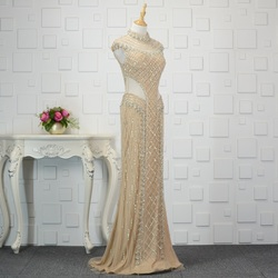 Heavy Beading Mermaid Celebrity Dresses 2020 New Design Sexy Cutaway Side Crystals Evening Prom Goowns Real Photos ZD1032