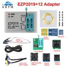 2019 ezp2019 conjunto completo de alta velocidade usb spi programador + 12 adaptador sop8 clipe de teste sop8/16 suporte 24 25 93 eeprom 25 flash bios chip