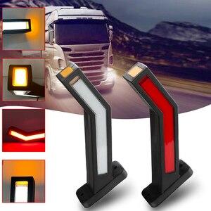2 Pcs Right Left Trailer 3LED Side Marker Lighting Outline Truck Light Van Lights 12-24V Palstic Rubber base Red White Amber